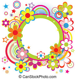 Happy frame for kids with circles, flowers and stars