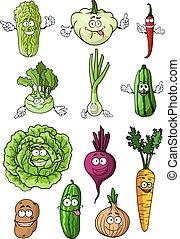 Happy fresh cartoon vegetables characters