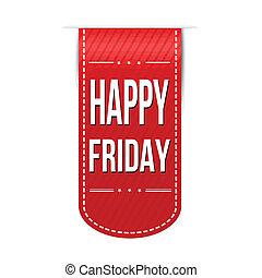 Happy friday banner design over a white background, vector illustration