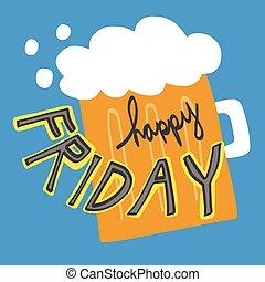 Happy Friday word and beer cartoon illustration