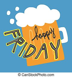 Happy Friday word and beer cartoon illustration