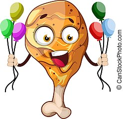 Happy, fried chicken leg holding balloons, illustration, vector on white background.