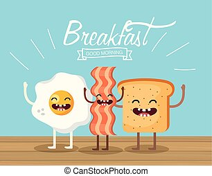 happy fried egg with bacon and sliced bread