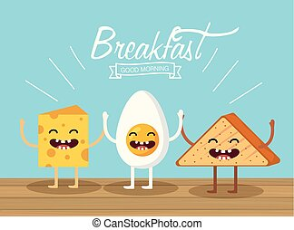 happy fried egg with cheese and triangle bread