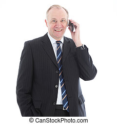 Happy friendly businessman on mobile
