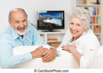 Happy friendly elderly couple relaxing in their living room...