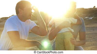 Happy friendly family having fun outdoor