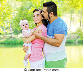 Happy friendly family in summer day