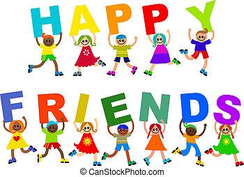 Happy Friends Diverse Kids Text