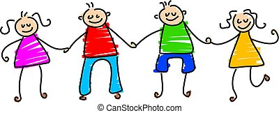 group of children holding hands - toddler art style