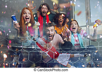 Happy friends of football fans watching soccer on tv and celebrating victory with falling confetti. Double exposure