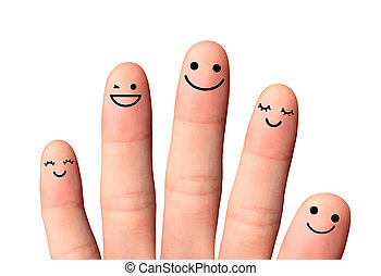 Happy friends or family, isolated with clipping paths