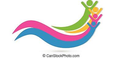 Happy friends unity concept logo