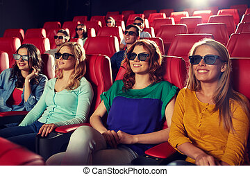happy friends watching movie in 3d theater