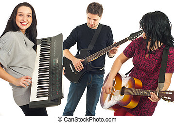 Happy friends with musical instruments