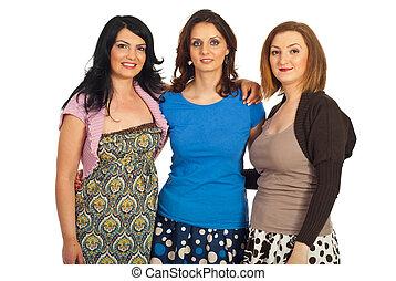 Happy friends women embrace