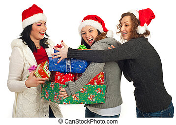 Happy friends women having fun with gifts