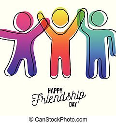 Happy Friendship day card of friends dancing