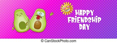 Happy friendship day cartoon comic horizontal banner with two funky avocado friends and cartoon sun isolated on violet background. Friendship day funky greeting card or party flyer. BFF concept