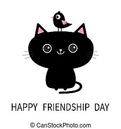 Happy Friendship Day. Cute black cat icon. Bird sitting on head face. Funny cartoon character. Kawaii animal. Kitty kitten. Baby pet collection. White background. Isolated. Flat design.