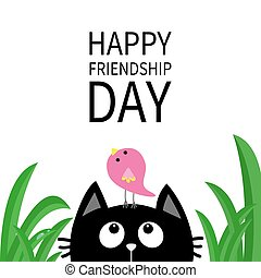 Happy Friendship Day. Cute black cat looking up to bird on head. Funny cartoon character. Kawaii animal. Kitty kitten. Baby pet collection. White background. Green grass. Isolated. Flat design.