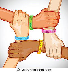 Happy Friendship Day - illustration of hand of multiracial...