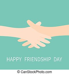 Happy Friendship Day. Handshake icon. Two hands arms reaching to each other. Shaking hands. Close up body part. Friends forever. Helping hand. Green background Isolated. Flat design.