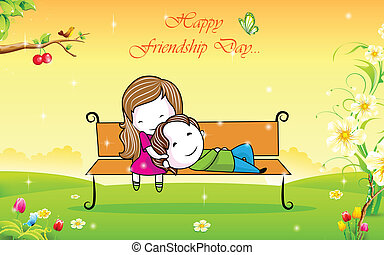 Happy Friendship Day - illustration of friends in park bench...