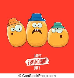 Happy Friendship day vector illustration. funky kids potato with friends. vector friends tiny kids potato characters having fun isolated on red background.