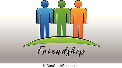 Happy friendship people logo icon vector