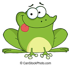 Happy Frog Cartoon Character - Goofy Frog Sticking His...