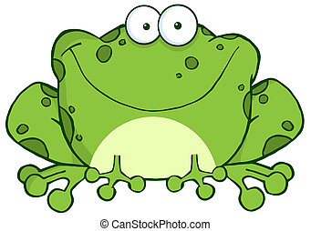 Happy Frog Cartoon Character - Speckled Green Toad Smiling