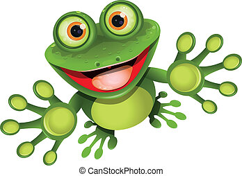 happy frog - illustration, merry green frog with greater eye