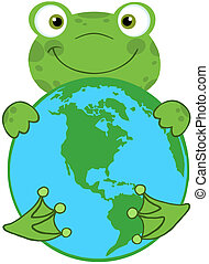 Happy Frog Hugging Planet Earth Cartoon Character