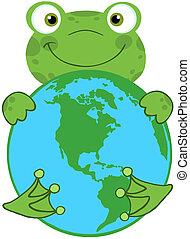 Happy Frog Hugging Planet Earth Cartoon Character