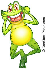 Happy frog on white background