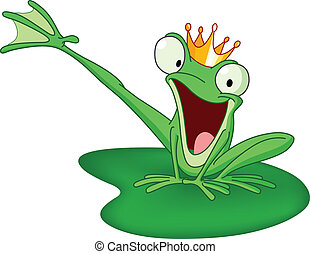 Happy frog prince on a lily pad