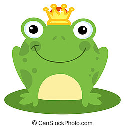 Happy Frog Prince - Smiling Frog Prince On A Lily Pad