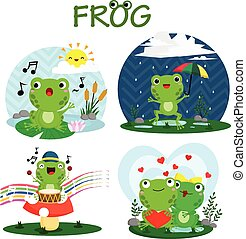 Happy Frog Vector Set