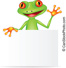Happy frog with blank sign - Vector illustration of happy...