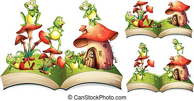 Happy frogs on storybook