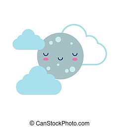 happy full moon with clouds kawaii character flat style