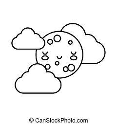 happy full moon with clouds kawaii character line style