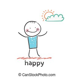happy. Fun cartoon style illustration. The situation of...