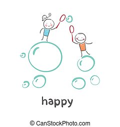 happy. Fun cartoon style illustration. The situation of life.