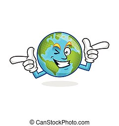 Happy funky earth mascot, earth character, earth cartoon vector