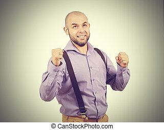 funny arrogant bald man with a beard.