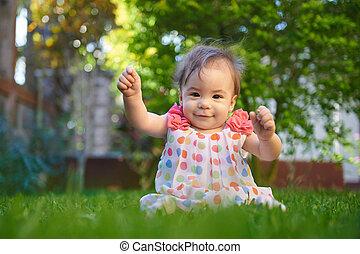 Happy funny baby girl