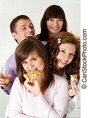 Happy funny campaign of four people eating pizza