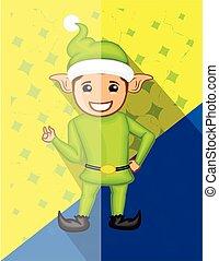 Happy Funny Elf Character